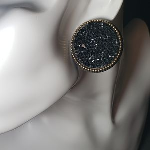 Crafted Round/Circle Black Rhinestone Earrings